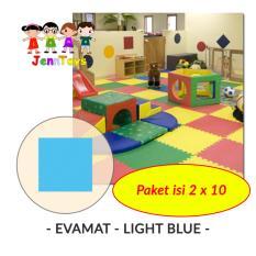 Set 1 Pack Isi 2 X 10 Evamat Polos Matras Tikar Karpet Puzzle Alas Lantai Evamat Light Blue Evamat Diskon 40