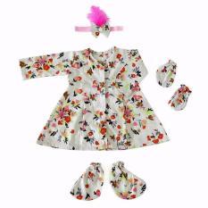 Promo Set Newborn Royal White Flowery Baby Dress Baby Malika Terbaru
