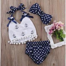 Setelan Baju Celana + Bandana + Kaos Atasan Rompi Lucu ( Anchor Sailor Baby Girl)