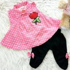 Harga Setelan Baju Celana Bayi Anak Kemeja Flare Rose Terbaik