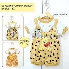 Baju Bayi Laki laki Perempuan Setelan Bordir BCS-51 BROWN RANDOM GAMBAR / Baju bayi perempuan / pakaian bayi / kaos bayi /perlengkapan bayi