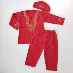 Setelan Koko Bordir Bayi - Merah