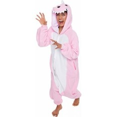 Silver Lilly Unisex Adult Pajamas - One Piece Cosplay Pink Dinosaur Costume (M) - intl