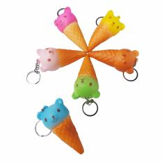 Simply Chic Squishy Gantungan Kunci Es Krim Beruang Rilakuma ( Squishy Simulation Ice Cream Bear Slow Rising Squishy Fun Toys Key Chain ) 1,7 inch