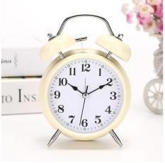 Ukuran L Jam Alarm Kembar Kembar dengan Bunga Pola Latar Belakang Samping Tempat Tidur Meja Meja Jam untuk Anak-anak Anak-anak Anak Sekolah Perempuan pekerja Kantor-Internasional