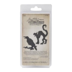 Sizzix Movers & Shapers Magnetic Dies Oleh Tim Holtz 2/PKG-Mini Cat & Raven-Intl