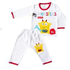 SKABe Baju Anak Bayi Putih Tangan Panjang Stelan Kaos 2476