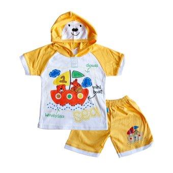 Skabe Baju Anak Bayi W/Tua Tangan Pendek Kimono Topi Stelan Kaos 1696 - Kuning