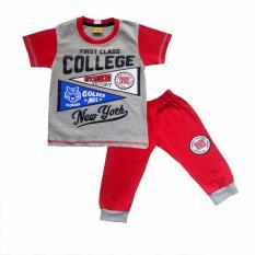 Toko Skabe Baju Anak Bayi W Tua Tangan Pendek Stelan Kaos Cln 3 4 2485 Merah Online Terpercaya