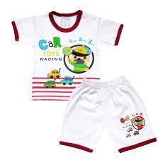 Skabe Baju Tidur Anak Baby Putih Tangan Pendek Stelan Kaos 2584