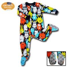 Sleepsuit Jumpsuit Piyama Baju Tidur Bayi Motif Monster Bahan Fleece