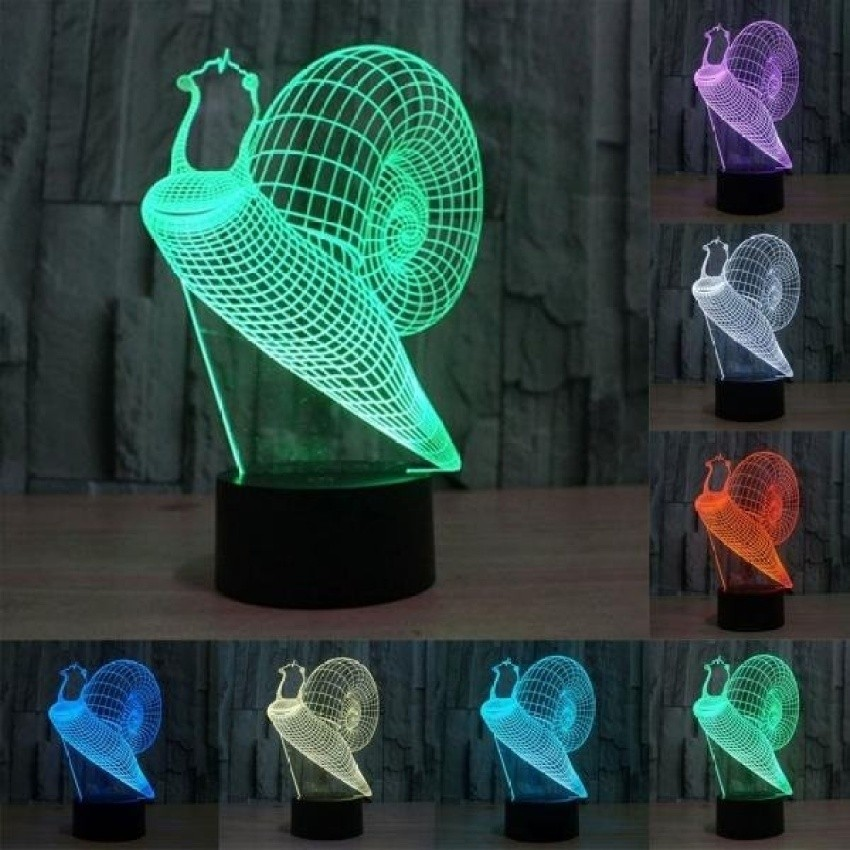 Snail Style Pengisian USB 7 Warna Perubahan Warna CreativeVisualStereo Lampu 3D Touch Switch Control LED Light Desk LampNightLight. Ukuran Produk: 21.7X13.7X8.7 Cm-Intl