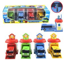 Sne Toys Mainan Anak Tayo Bus Garasi Tayo Little Bus Garage 4 Pcs Set Terbaru
