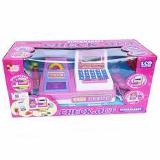 SNETOYS - Mainan Cash Register mainan mesin kasir check out , Mainan Kasir Supermarket dengan Timbangan - Pink