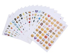 SOBUY Emoji Stickers 19 Sheets 912 With Happy Faces Kid Stickers For Phone Facebook Twitter - intl