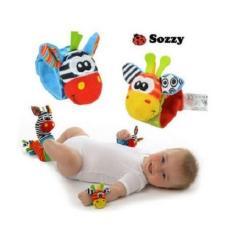 Sozzy Gelang Rattle & Kaos Kaki Giraffe Zebra 4in1 Mainan Edukasi Bayi Jerapah Zebra