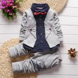 Spesifikasi Musim Semi Autumn Bayi Anak Laki Laki Pakaian Set Pakaian Anak Palsu Dua Potong Kemeja Cocok Fancy Anak Gelentment Pakaian Set Abu Abu Intl