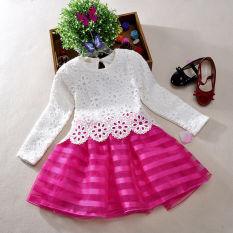 Semi Bayi Perempuan Anak Lucu Crochet Renda Gaun Lengan Panjang 3-8Years