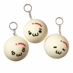 Squishy Gantungan Kunci Bakpao Emotikon ( Squishy Simulation Dimsum Emoticon Slow Rising Squishy Fun Toys Key Chain ) 2.4 inch