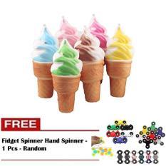 Squishy Jumbo Ice Cream Cone Squishy Ice Cream Monas - 1 Pcs + Free Fidget Spinner Hand Spinner - 1 Pcs - Random