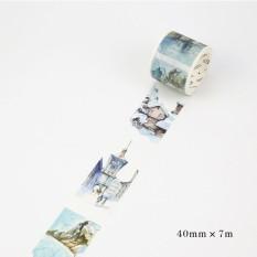 Bintang 7 M X 40 Mm Arsitektur Stiker Perekat Kerajinan DIY Hias untuk Diary Buku Tempel Peta Gaya Swiss-Intl