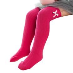 Star Mall Baby Girl Knee-High Bowknot Socks Cotton Stockings Birthday Festival Gift Specification S/35cm Rose red S - intl