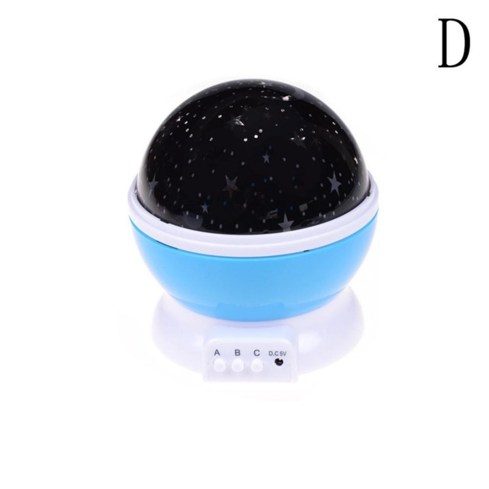 Star Sky Proyektor Bulan Lighting Lamp 360 ° Rotasi USB Proyeksi Malam untuk Anak-anak Kamar Tidur Anak-anak Biru D Bulan dan Bintang-Internasional