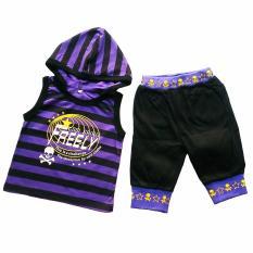 Stelan Boy Hoody Stripe Purple Black Freely