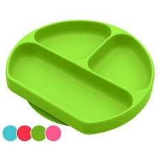 Suction Plates For Toddlers, Babies, Silicone Placemats For Kids Stick, Fits To Most High Chair Tray And Tabel, Baby Dishes - Kids Plates + Bowls - Green - intl