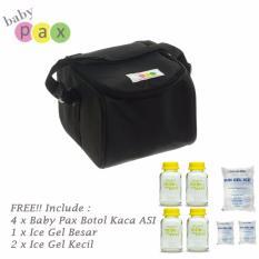 Ulasan Mengenai Baby Pax Cooler Bag Set Hitam Free Botol Kaca Asi Ice Gel