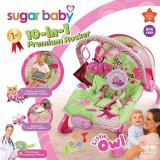 Model Sugar Baby Little Owl 10 In 1 Premium Rocker Baby Bouncer Ayunan Bayi Pink Terbaru