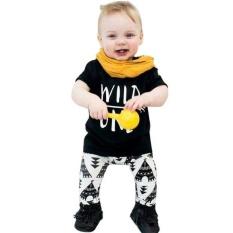 Pusat Jual Beli Musim Panas Bayi Huruf Cetak T Shirt Lengan Bang Pendek Pants Suit Hitam Tiongkok