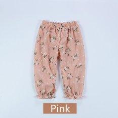 Musim Panas Bayi Perempuan Anti Nyamuk Rumah AC Celana Lantern Pants Floral Celana Panjang Katun-Pink-Intl