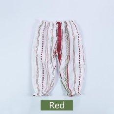 Musim Panas Bayi Perempuan Anti Nyamuk Rumah AC Celana Lantern Pants Floral Celana Panjang Katun-Merah-Intl