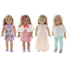 Musim Panas Liburan 4 Paket Pakaian, Pakaian Boneka Set, Cocok untuk Boneka Gadis Amerika, atau 18