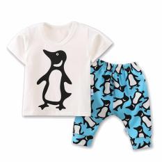 Promo Musim Panas Kids Cute Cotton Sets Casual Hewan Penguin Boys Pakaian Rompi Celana Pendek Suit Intl Bear Fashion