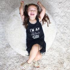 Beli Musim Panas Bayi Balita Anak Gadis Without Lengan Gaun Rumbai Hitam Internasional Terbaru