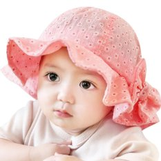 Sun Cap Musim Panas Outdoor Baby Girl Hats Sun Beach Bucket Hat (Pink)-Intl