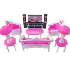 Sunnyshopdolls Aksesoris Berpura-pura Bermain Set Furnitur Mainan untuk Boneka Barbie Sebagai Hadiah Natal untuk