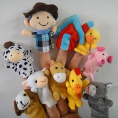 SunnyShopNursery Rhyme Soft Animal Finger Puppets Set for Old Macdonald Had a Farm