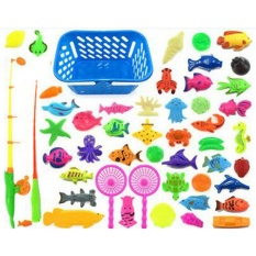 Sunshop Fish Pond Game Magnetic Fishing Pole Rod 3D Model Ikan Baby Kids Bath Toys Outdoor Fun 50 Pcs/set- INTL