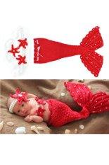 Bayi Yang Baru Lahir Bayi Rajutan Wol Foto Setelan Baju Pakaian Desain Alat Peraga Hewan (Merah)