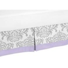 Desain Jojo Yang Cantik Lavender, Gray dan Putih Kain Sutera Cetak Elizabeth Tempat Tidur Rok untuk Perempuan Tempat Tidur Balita-Internasional