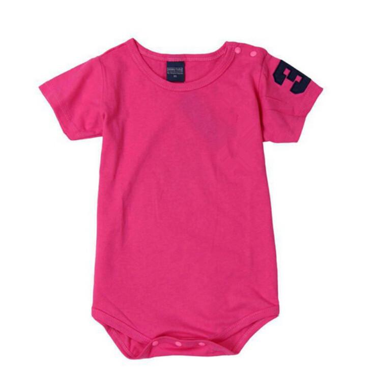 T025 Musim Panas Cute Segitiga Bayi Pakaian Katun Unisex Pendek Sleeve Romper Musim Semi Musim Panas Rompers Rose-Intl