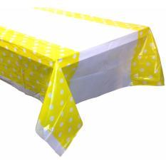 Table Cover / Taplak Meja Plastik Kuning Polkadot