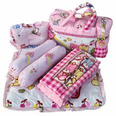 Tas Bantal Guling Gendongan Alas Tidur Perlak Bayi Set 4 In 1 Chekiddo -Pink