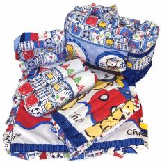Tas Gendongan Bantal Guling Alas Tidur Bayi Set 4 in 1 Merk Chekiddo - Biru Bear Sailor