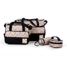 tas untuk bayi tas bayi buat jalan jalan tempat baju bayi model perlengkapan bayi importir perlengkapan bayi diaper bag tas bayi yang bagus tas bayi yang bagus peralatan bayi lazada model tas bayi unik diaper bag yang bagus  Tas Bayi Hitam Polka  5 IN 1