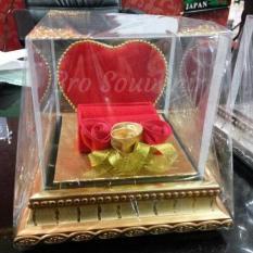 Tempat Mahar Perhiasan Pernikahan Cincin Kalung Love Kayu Murah Lucu