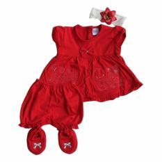 Harga Hemat Thaloui Stelan Baju Bayi Merah Duck Bandana